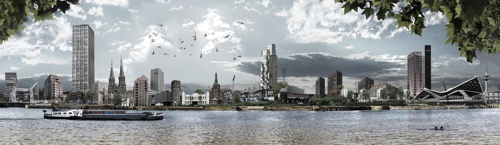 skyline Tilburg Spoorzone met boom
