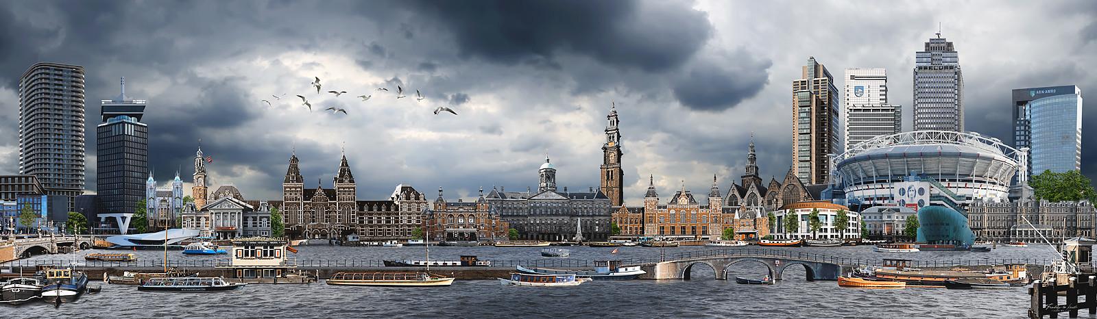 Skyline Amsterdam kleurrijk