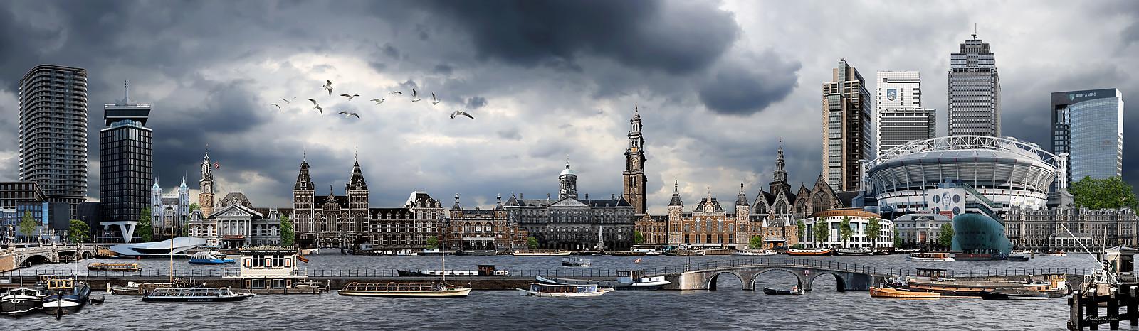Skyline Amsterdam realistisch