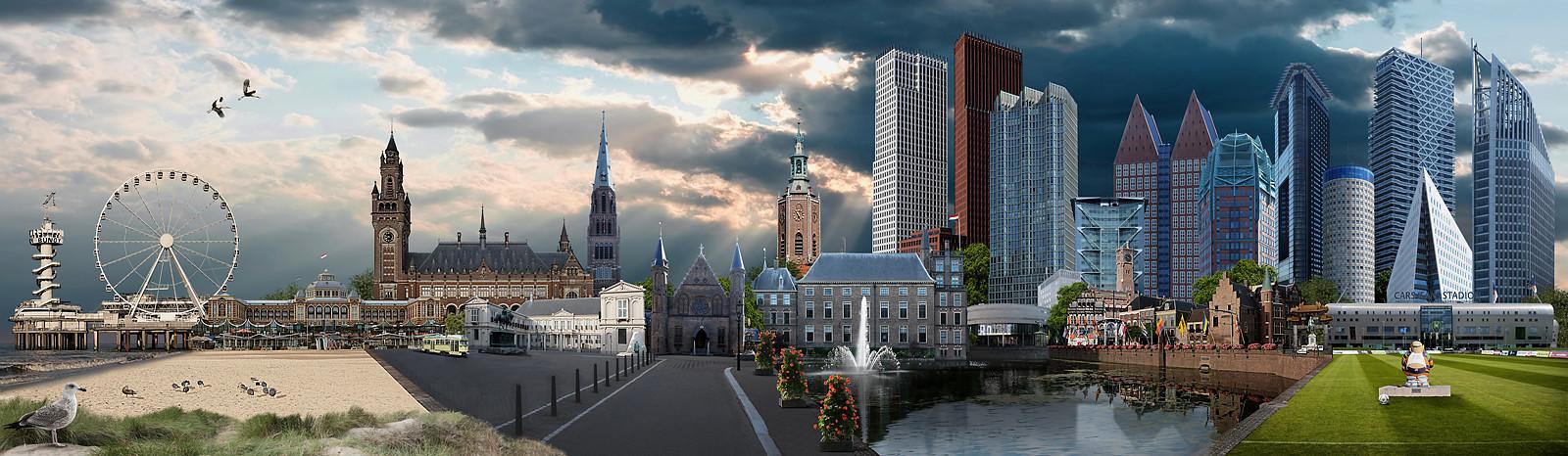 Skyline Den Haag Kleurrijk versie 2